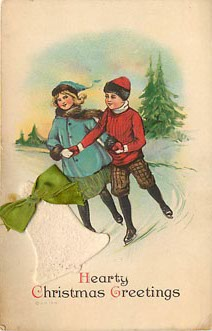 Ice Skating - Hearty Christmas Greetings - Postcard EMBOSSED