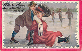 Ice Skating Postcard - More than he could stand! Postmarked 1910