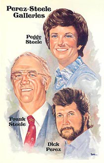 Perez-Steele Galleries Peggy, Frank, & Dick Steele Postcard