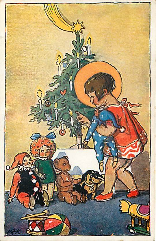 MFK Artist Signed Postcard Little Girl with a Christmas Tree