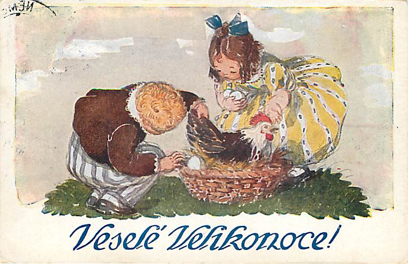 Czech Postcard Girl and Boy Fetching Eggs From Hen