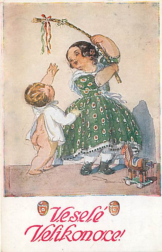Czech Postcard - MFK- Girl holding Ribbons on Stick to Play
