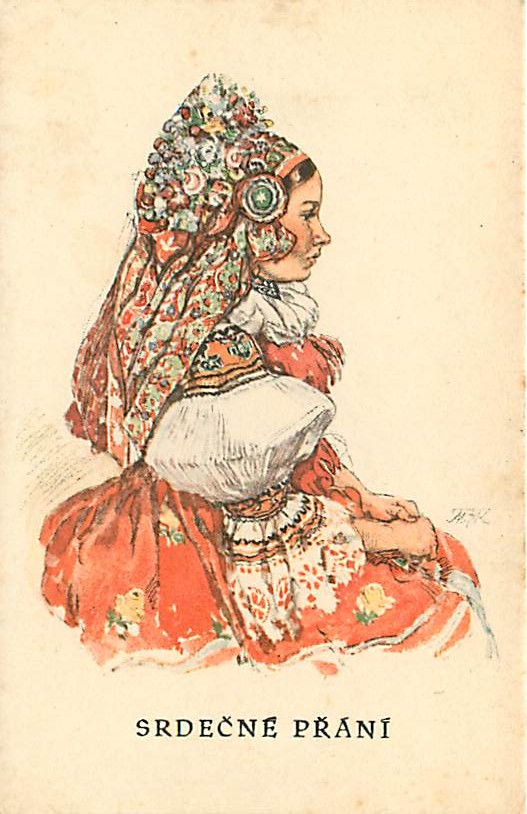 SRDECNE PRANI Czech Artist Signed MFK - Side View Of Girl