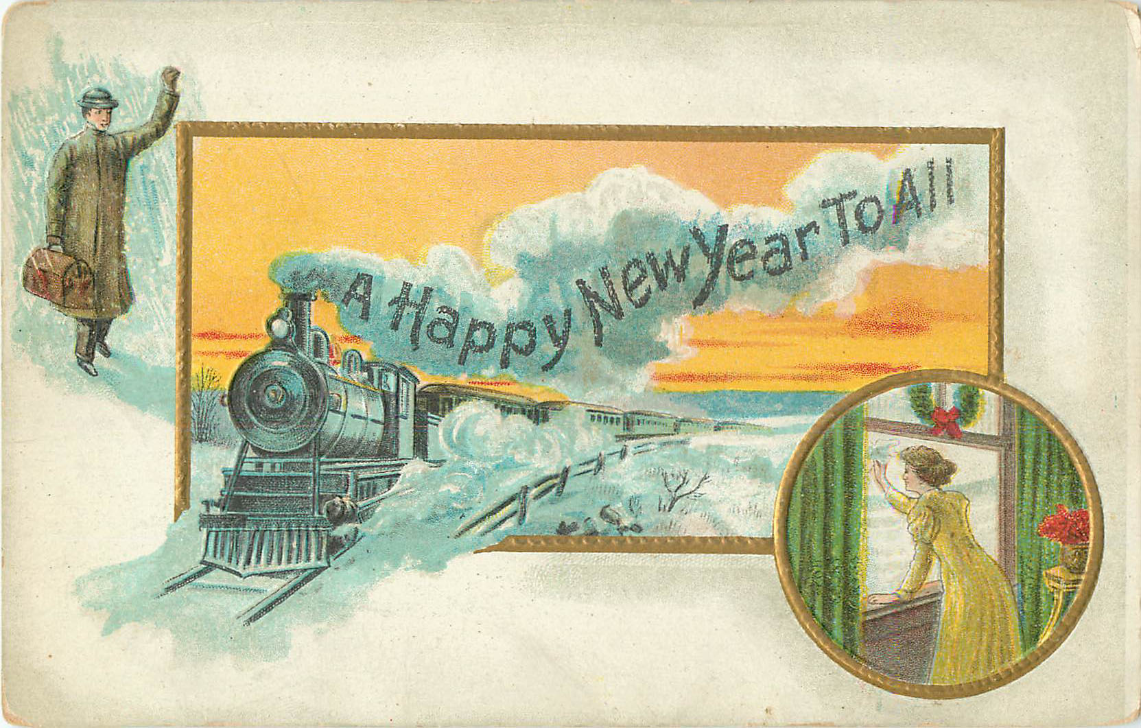 A Happy New Year to All - Postcard