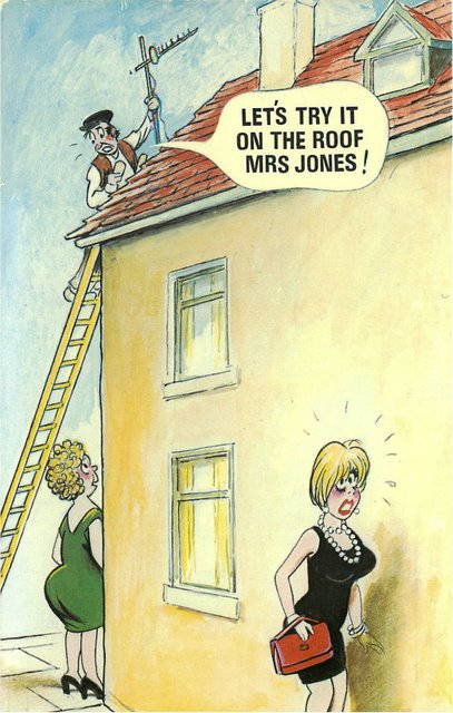 """Man on Roof"" Bamforth Comic"