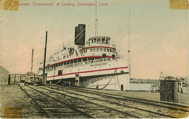 Steamer at Landing Connecticut Postcard