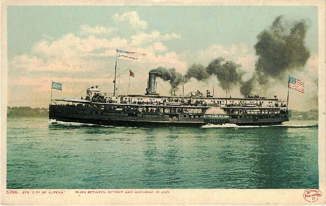 "Steamboat ""City of Alpena"" Plies between Detroit and Mackinac"