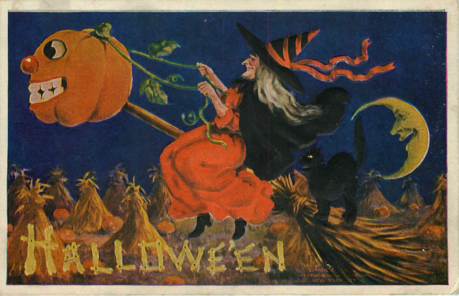 Halloween Postcard - witch & pumpkin 1908