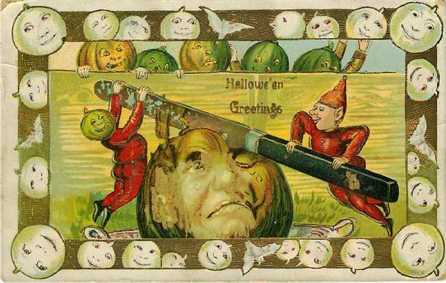 Halloween Greetings Postcard Fancy Border 1910