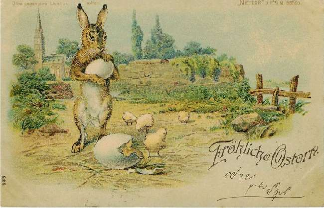 Frohliche Ostern - Easter Bunny and Chicks - German Easter