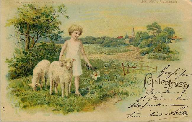 Ostergruss - Child with Lambs - German Easter Greeting