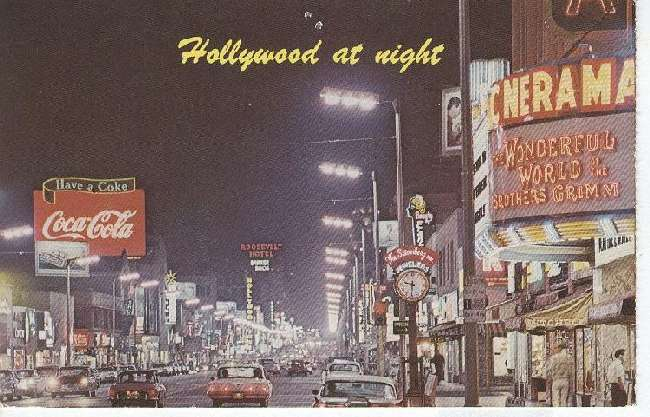 Hollywood at night