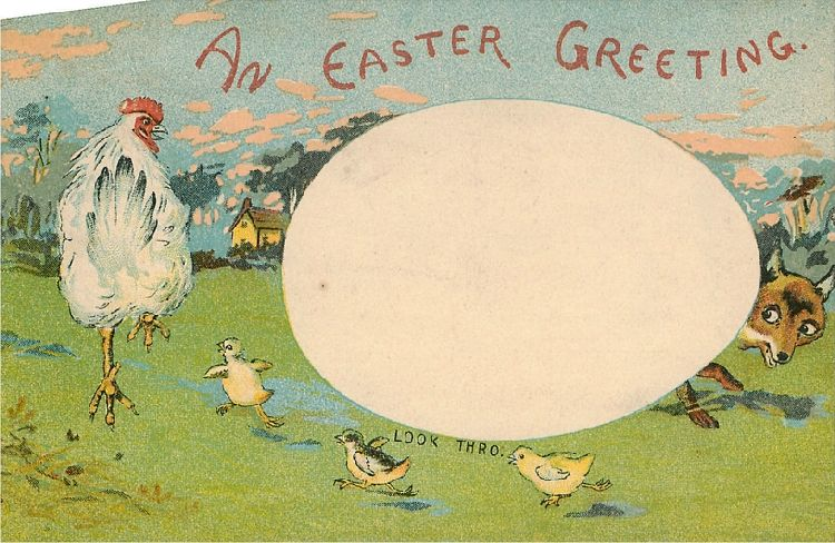 An Easter Greeting - Chicken, Chicks, and Fox