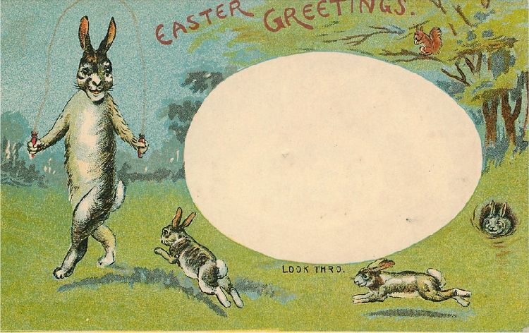 Easter Greetings - Rabbits with Rabbit Jumping Rope
