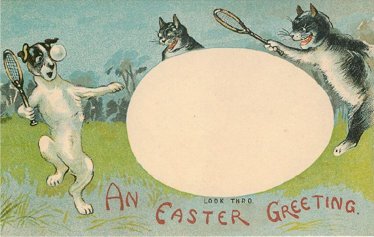 An Easter Greeting - Dog Playing Tennis with Cats