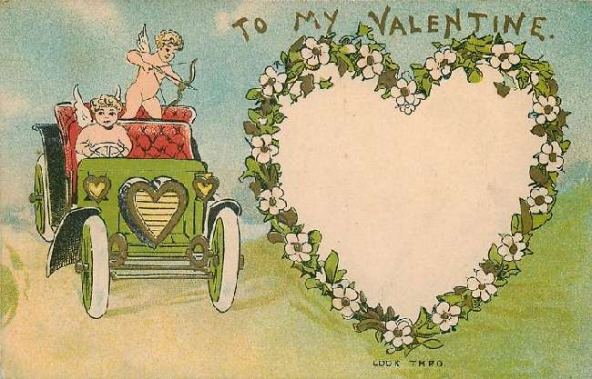 To My Valentine - Cherub & Cupid in Automobile, Cupid Takes Aim