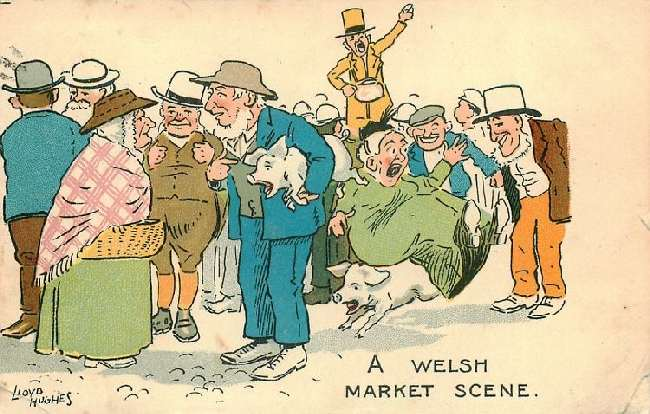 A Welsh Market Scene - Ladies and Men with Pigs