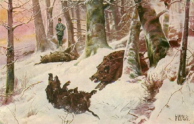 Man on Wild Boar Hunt in Snowy Forest