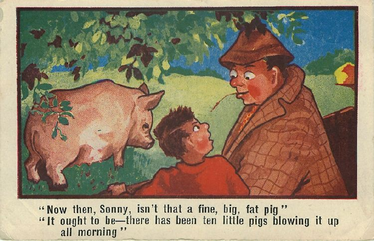Man and Boy Talking About Large Pig (Sow) - Comic