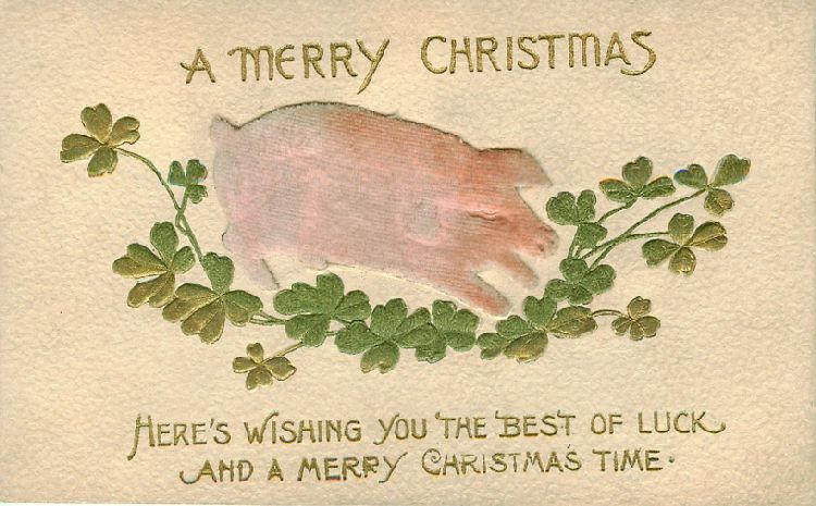 "Pink Pig and Shamrocks - ""A Merry Christmas - Here's wishing..."""