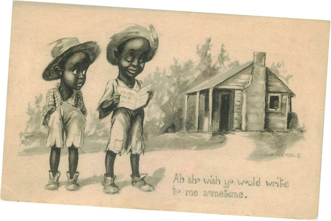 Two Black boys reading a letter - Postcard