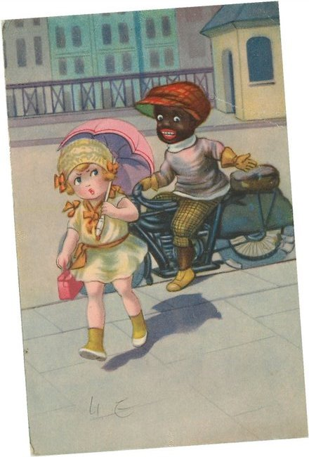 Black Americana on bicycle yelling a white girl on the street.