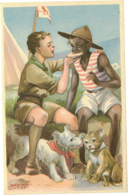 Black American Postcard - Boyscout with Black Kid and two dogs.
