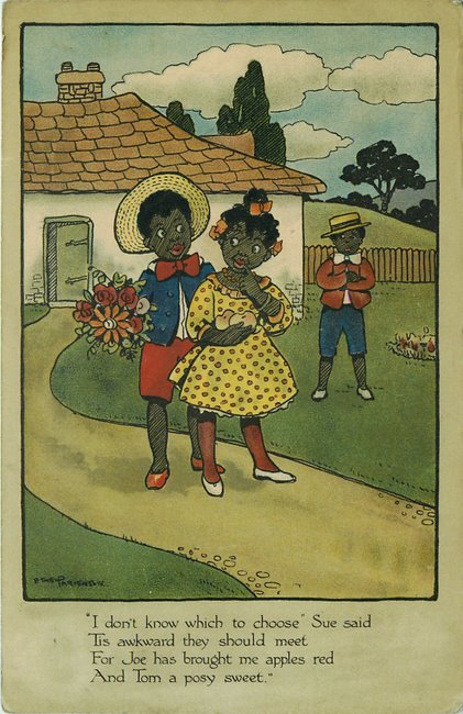Two Black Boys competing for a Black girls attention postcard