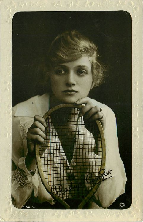 Gladys Cooper with Tennis Racquet Postcard