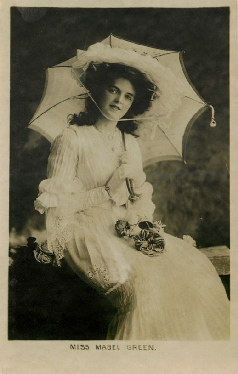Miss Mabel Green with Parasol and Roses in Lap Postcard