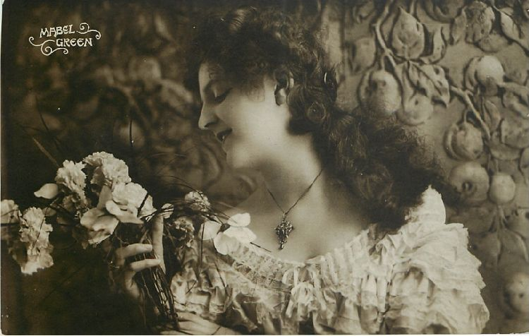 Mabel Green Holding Flowers Postcard