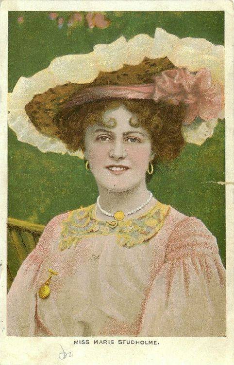 Miss Marie Studholme in Pink and White Hat, Pink Dress Postcard