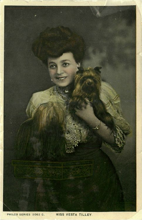 Miss Vesta Tilley Holding Two Small Dogs - No. 2062 D