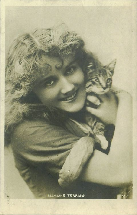 Ellaline Terriss Hugging a Cat Postcard