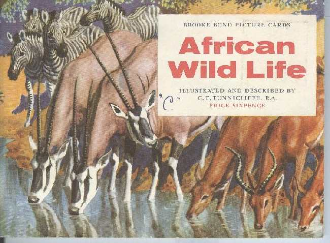 African Wild Life Brooke Bond Picture Cigarette Postcards