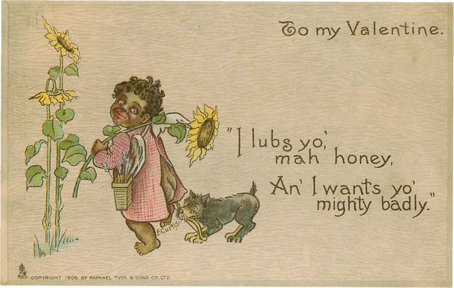 To Mah Valentine - Black girl with Dog postcard