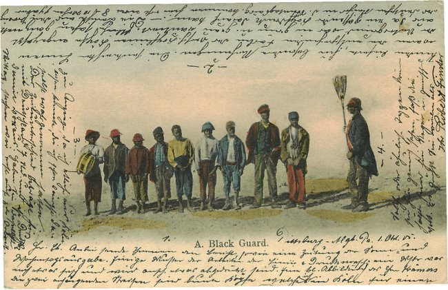 Black Americana Postcard - Black Guard with solders