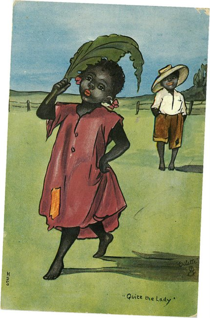 "Black Americana Postcard - ""Quite the Lady"" - Oilette Series"