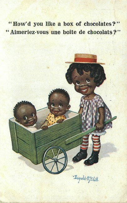 Black Americana Postcard Black girl and boy - Signed McGill