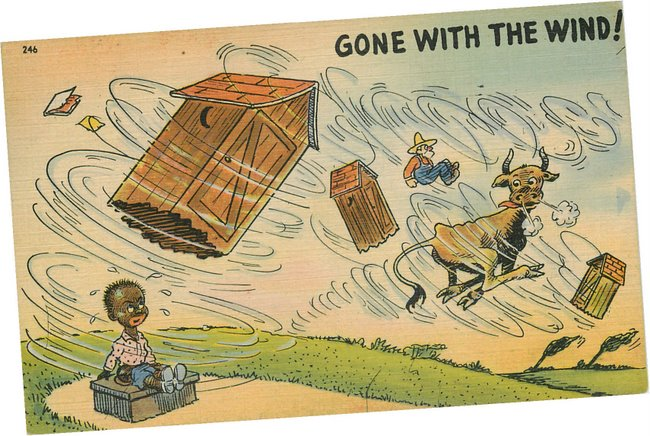 Black Americana Postcard Gone with the Wind-Black man n outhouse