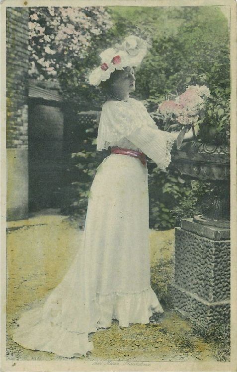 Miss Marie Studholme in the Garden beside a Planter Postcard
