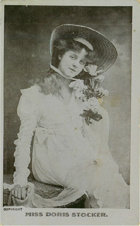 Miss Doris Stocker with Straw Hat and Rose Bouquet Postcard