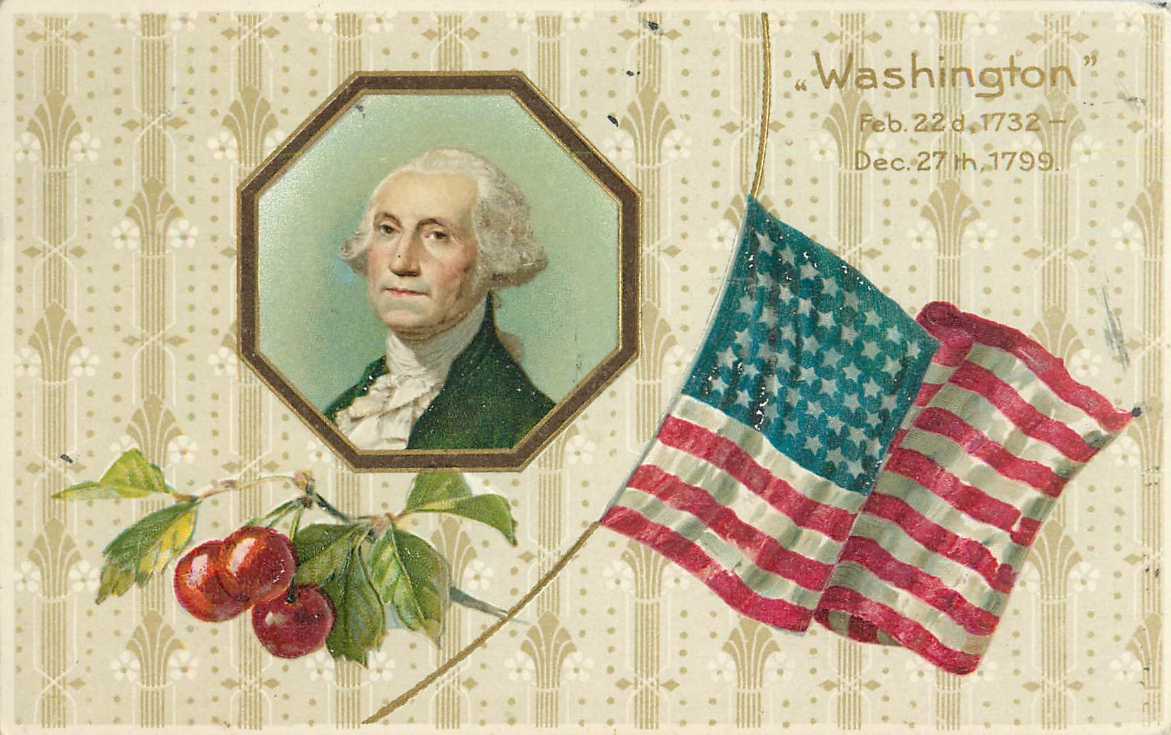 """George Washington with Flag and Cherry Branch"""