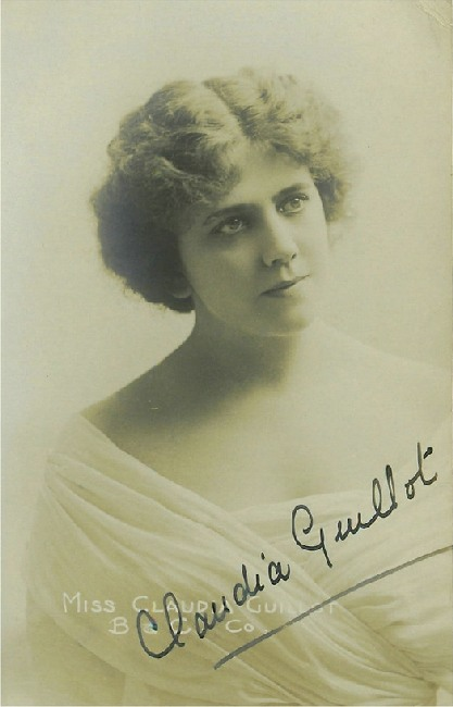 Miss Claudia Guillot in White Dress Features Autograph Postcard