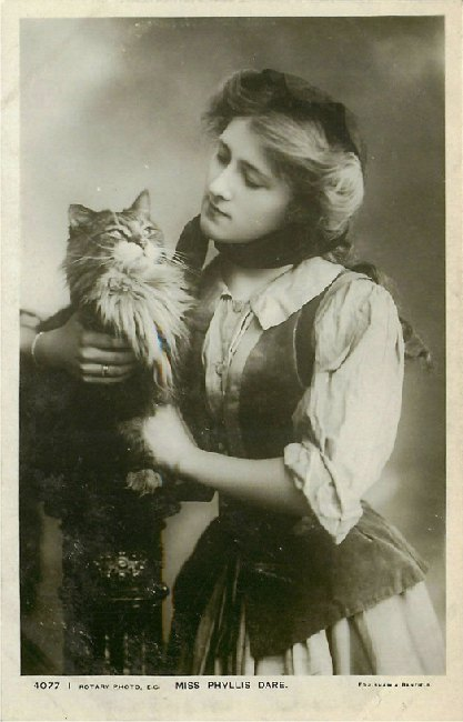 Miss Phyllis Dare with Cat - No. 4077 I Postcard