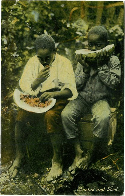 Rastus and Ned eating watermelons postcard