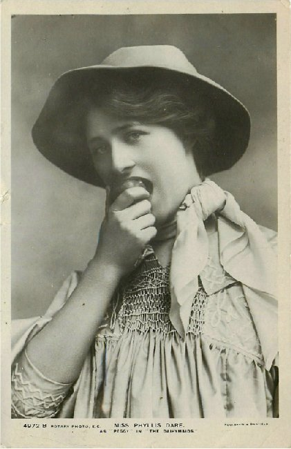 "Miss Phyllis Dare in ""The Dairymaids"" - No. 4972 B Postcard"