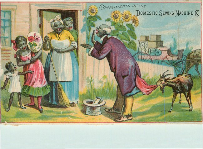 Black Americana Postcard Compliments of Domestic Sewing Machine
