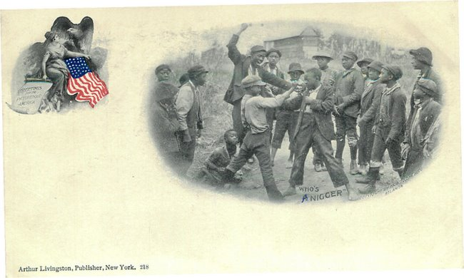 "Black Americana Postcard Black Kids Fighting - ""Who's a Nigger?"""