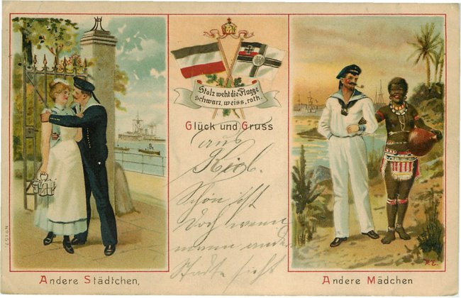Sailor with Milk Maid and a Sailor with a Black Woman postcard